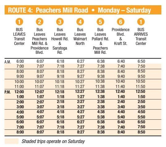 Route 4 Schedule